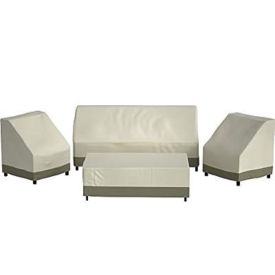 Wisteria Lane Patio Furniture Cover, 4 Piece XX-Large Waterproof and Heavy Duty Outdoor Veranda Lawn Furniture Deep Seat Covers, Beige & Khaki