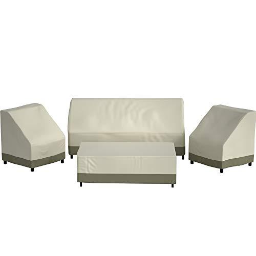 Wisteria Lane Patio Furniture Cover, 4 Piece XX-Large Waterproof and Heavy Duty Outdoor Veranda Lawn Furniture Covers, Beige & Khaki