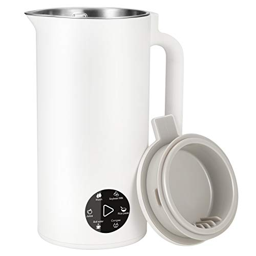 SEAAN Mini máquina de leche de soja, 350 ml de calentamiento automático multifuncional máquina de leche de soja de agitación fuerte con tanque interior de acero inoxidable 304 para jugo de fru