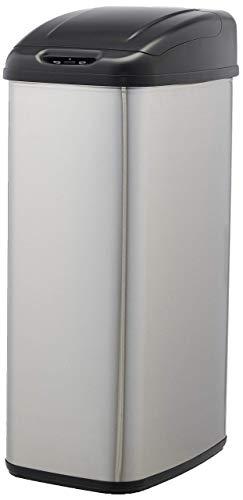 AmazonBasics - Cubo de basura automático de acero inoxidable, para espacios estrechos, 50 litros