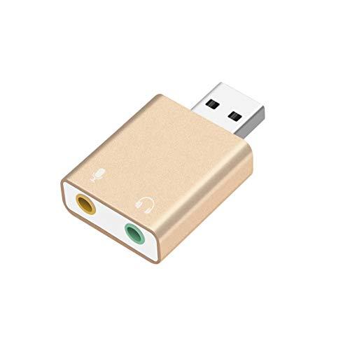 Dynamovolition Carte Son Externe USB vers écouteurs Casque Microphone Jack Adaptateur USB Carte Audio pour Ordinateur Portable Carte Son Or