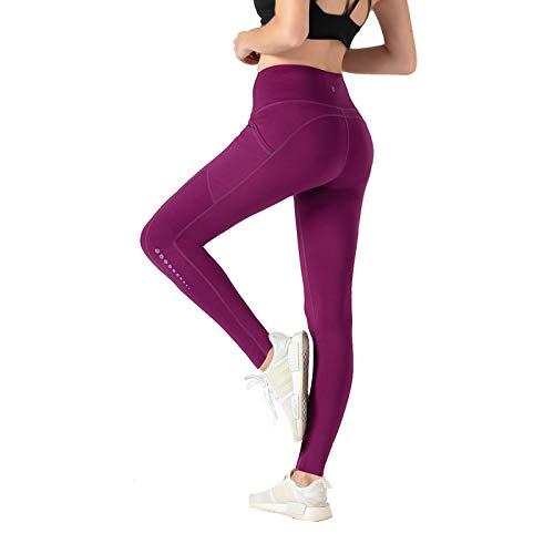 TOMSHOO Pantalones Yoga Mujer, Leggings Yoga Mujer Cintura Alta, Mallas Yoga Mujer con Bolsillos, para Correr Deportes Estiramiento y Pilates
