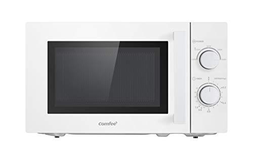 Comfee CMSN 20 wh Mikrowelle / Solo-Mikrowelle mit 5 Leistungsstufen/ Innenbeleuchtung/ easy Defrost/360°Drehteller / Zwei Drehregler/20L/700W/ Weiß