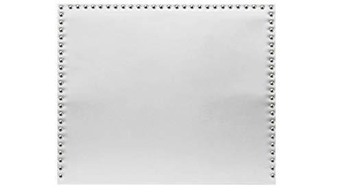 Cabecero de Cama tapizado en Polipiel y con Tachuelas en Color Plata Altura 120cm. Color Blanco. para Cama de 150 (Medidas 160x120x8) Pro Elite.