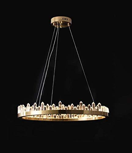 FFAN Crystal Circular Chandelier Gold Ring LED Pendelleuchten Warmes Licht Moderne Eiszapfen-Leuchte für Esszimmer Wohnzimmer