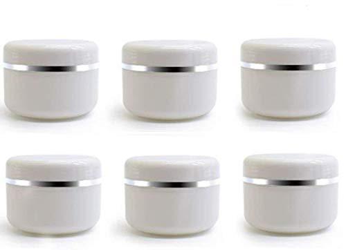 ericotry - Tarros de plástico vacías con tapa de cúpula, 20 ml, 50 ml, 100 ml, color blanco y...