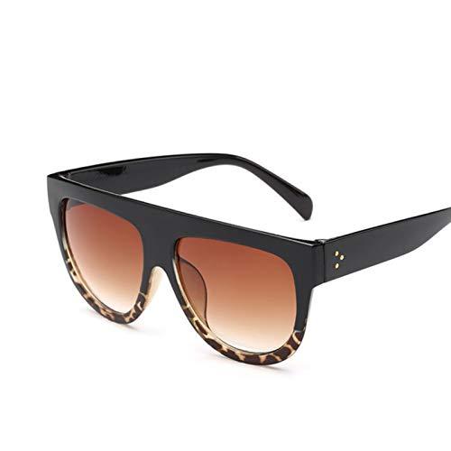 QYV Gafas de Sol con Espejo con Parte Superior Plana, Gafas de Sol para Mujer, Gafas de Sol graduadas para Mujer, Gafas Femeninas,Black Leopard