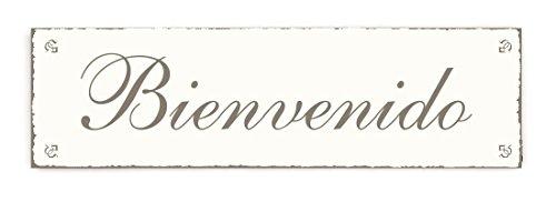 SCHILD Türschild « BIENVENIDO » Willkommen Shabby Vintage Holzschild Dekoschild Dekoration Hinweisschild Spanien