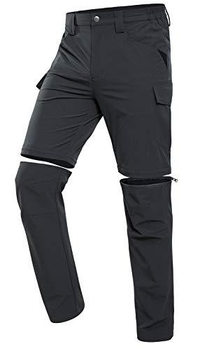 Vzteek Herren Wanderhose Zip Off Trekkinghose Outdoorhose Sommer Softshell Stretch Hose Kurz für Wandern,Abnehmbar,Baggy,Fahrrad,arbeits (grau,L)