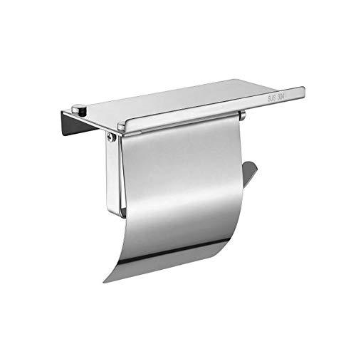 Zjcpow Portarrollos de papel higiénico de acero inoxidable resistente al agua para el baño, la cocina (color: plata, tamaño: 18 x 9 x 15 cm)