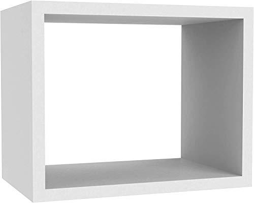Greenco, White Set of 3 Wall Mounted Cube Floating Shelves, Finish