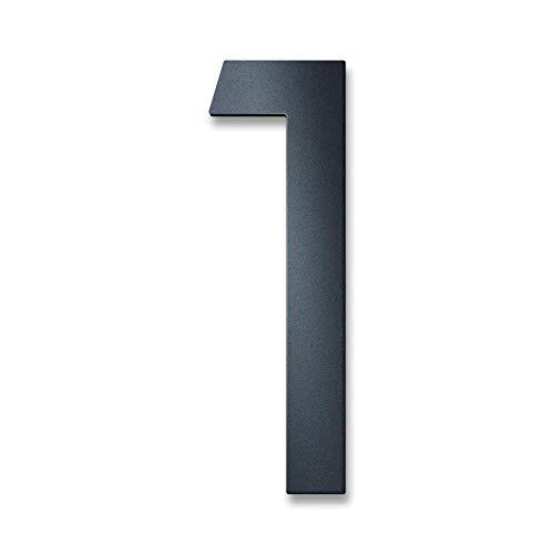 Metzler Hausnummer in Anthrazit RAL 7016 - Feinstruktur Pulverbeschichtet in Anthrazitgrau - inkl. Befestigungsmaterial – massiver Stahl - Schrift Bauhaus - Höhe 20 cm - Ziffer 1