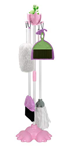 Kids Cleaning Set, Exercise N Play Toddlers Realistic Housekeeping Pretend Play Toys with Broom Mop Brush Dustpan Duster Stand for Girls and Boys