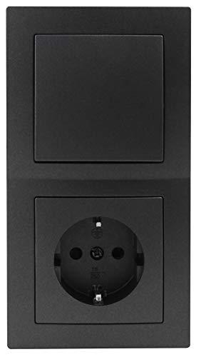 MC POWER - FLAIR - Wand Steckdosen und Schalter Set   Tür 2-fach   3-teilig   anthrazit, matt
