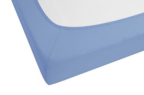 biberna 77144 Jersey-Stretch Spannbetttuch, nach Öko-Tex Standard 100, ca. 140 x 200 cm bis 160 x 200 cm, blau - 2