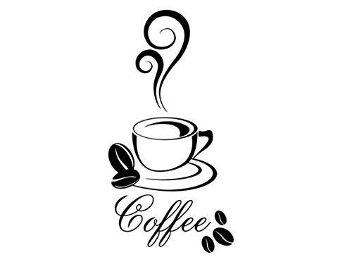 Wandtattoo Wandaufkleber Coffee Wandsticker Küche Esszimmer Kaffee Café 30 Farben + 5 Größen exklusiv von Wandtattoo-bilder® Farbe Schwarz, Größe 20x38