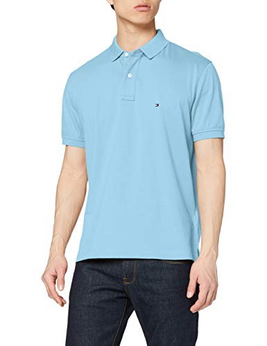 Tommy Hilfiger Tommy Regular Polo Camicia, Columbia Blue, XS Uomo