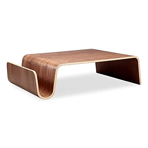 ZOYAFA Mesa de centro de madera contrachapada moderna de mediados de siglo para el desayuno, revista, muebles de sala de estar, mesa de té lateral para portátil