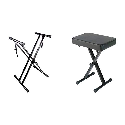 RockJam Xfinity Heavy-Duty, Double-X, Pre-Assembled, Infinitely Adjustable Piano Keyboard Stand with Locking Straps & Yamaha PKBB1 Adjustable Padded Keyboard X-Style Bench, Black,19.5 Inches