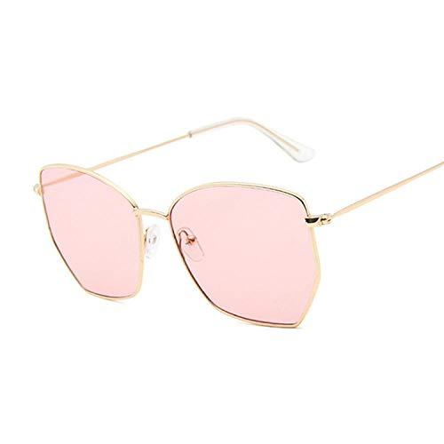 LONG FU Gafas de sol Vintage Cat Eye Gafas de sol de mujer Retro Gafas de sol para mujer Montura de metal Oversize Amarillo Rosa Azul Rosa, Goldpink