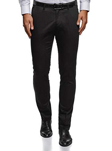 oodji Ultra Uomo Pantaloni Classici in Cotone, Nero, 50