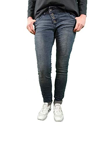 Buena Vista Malibu Damen Jeans Hose Stretch Denim Pants mit offener Knopfleiste (Anthra Denim, L)