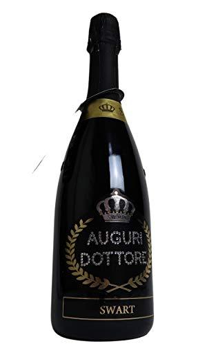 Bottiglia per Festa di Laurea - Bottiglia spumante italiano 0,75L con scritta Auguri Dottore o Dottoressa in vero Swarovski (Auguri Dottore)