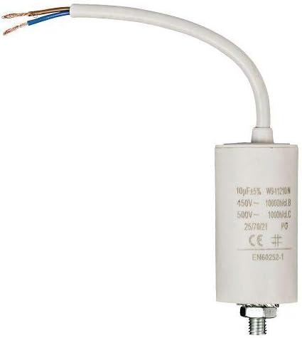 Condensador arranque motor electrico 8.0 uF 450 V con cable Blanco