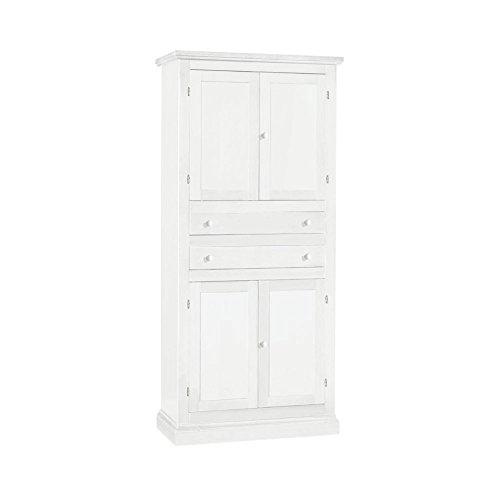 Armoire avec tiroirs, Style Classique, en Bois Massif et MDF avec Finition Blanc Mat - Dim. 80 x 40 x 170