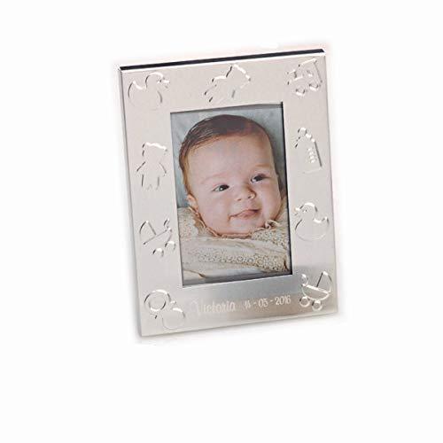 Lote 6 Marco Portafotos para bebe con motivos infantiles para regalar en bautizo y reuniones. Personalizado con nombre y fecha