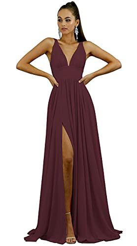 Split Bridesmaid Dresses Long V Neck Sexy Backless Formal Dress Evening Gowns Stretchy Satin Dress Burgundy US14