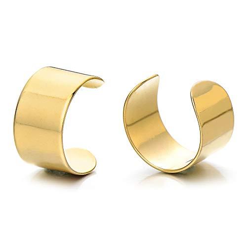 2 Piezas Oro Color Clip de Oreja, Clip-on Pendientes del Aro, para Hombres Mujer, Acero Inoxidable