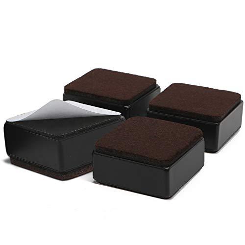 AIYIJIA 30 mm Möbelerhöhung aus Karbonstahl, 60 mm Breit, Selbstklebende Möbelerhöhung fügt 30 mm Höhe zu Betten, Sofas Schränken, Unterstützt 20.000 lbs, Quadratisch Schwarz