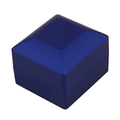 Yousiju Caja de Regalo Cuadrada de Terciopelo para Anillo de Bodas con luz LED para propuesta de Compromiso de Boda Blue