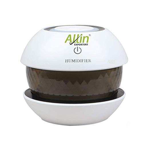 Allin Exporters H03 Magic Diamond USB Mini Ultrasonic Humidifier Filter Type Portable Air Purifier with LED Light & Auto Shut Off for Car, Office Cabin and Small Rooms (150 ml) (Random Colour)