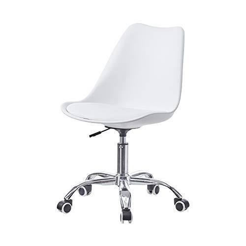 CLIPOP Sedia da Ufficio Girevole, altezza regolabile, sedia da ufficio, Schienale ergonomico, Sedia da scrivania con cuscino in pelle PU e ruote per casa e ufficio