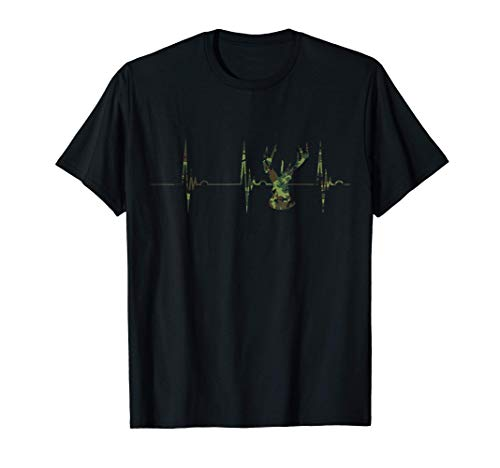 Camo Deer Hunter Heartbeat EKG Pulse Hunting Season Hunt T-Shirt