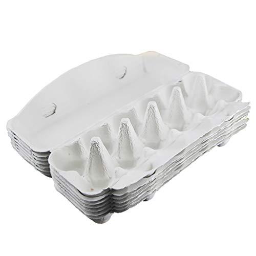 Cabilock 10 Piezas Cartones de Huevos 12 Rejillas Pisos de Huevos Pulpa de Papel Caja de Almacenamiento de Huevos Biodegradable Reciclado para El Hogar Cocina Refrigerador Contenedor de