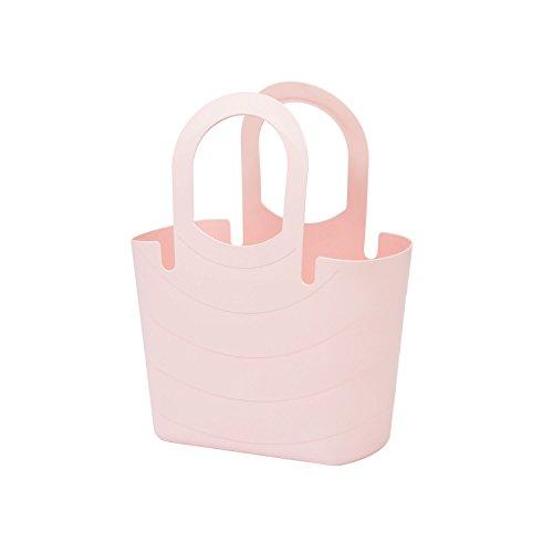 Mehrzweck Korb Picknickkorb Strandtasche Flexibel Einkaufskorb Tragetasche aus Kunststoff SIZE M pastell rosa