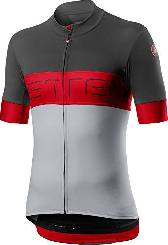 Castelli Ciclismo Prologo VI Jersey para bicicleta de carretera y grava l Ciclismo - Gris Oscuro Rojo Plata Gris - Medio