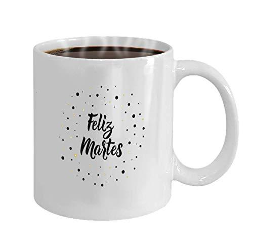 Mok, mok, spreuk in Spaans Feliz Martes letters Vector illustratie element voor stuurwielen Banner Un