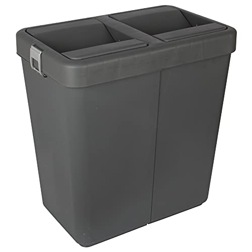 Jolie Max Double Rubbish Waste Separation Bin Recycling. Dual Compartment 80L (2 x 40 L) (Antrasit)