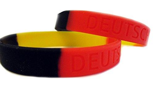 Twist4 Silikon Armband Deutschland - schwarz rot gelb - 2 Stück - als Fanartikel, Fußball, Deko, Party, Länder - Top Qualität