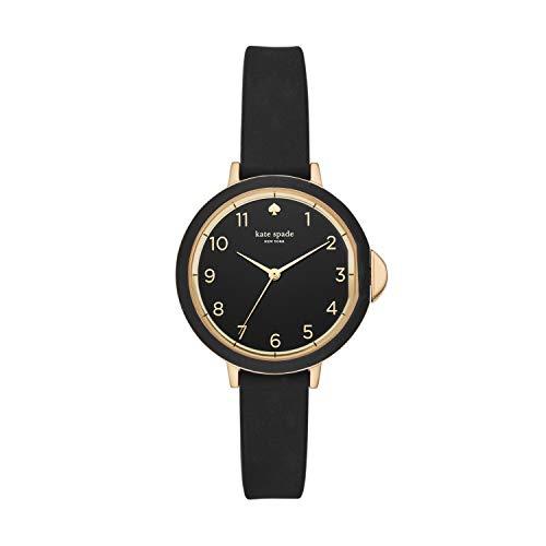 kate spade new york Women's Park Row Silicone Stainless Steel Japanese-Quartz Watch Strap, Black, 12 (Model: KSW1352)