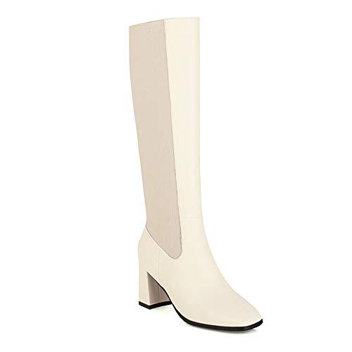 HKIASQ Moda Botas Altas hasta La Rodilla Zapatos De Mujer Otoño Invierno Botas Altas De Mujer Cómodas Zapatos Largos De Mujer Estirados Grandes,Blanco,44EU