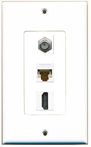 RiteAV Decorative 1 Gang Wall Plate (White/White) 3 Port - Coax (White) Cat6 (White) HDMI (White)