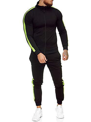OneRedox | Herren Trainingsanzug | Jogginganzug | Sportanzug | Jogging Anzug | Hoodie-Sporthose | Jogging-Anzug | Trainings-Anzug | Jogging-Hose | Modell JG-1068 Neon-Schwarz M