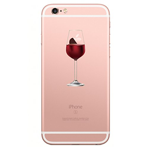 Caler Funda Compatible para iPhone 6, iPhone 6s Case, Suave TPU Gel Silicona Ultra-Delgado Ligera Anti-rasguños Protección Patrones Populares Carcasa para iPhone 6 /6s (Copa de Vino Tinto)