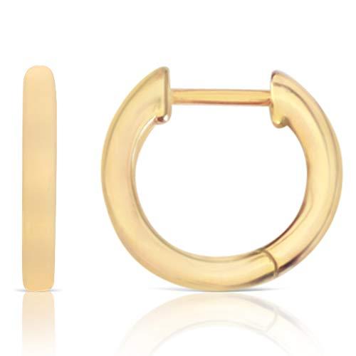 14K Gold Rose Gold Plated 925 Sterling Silver Solid Cuff Huggie Hinged Hoop Sleeper Stud Earrings