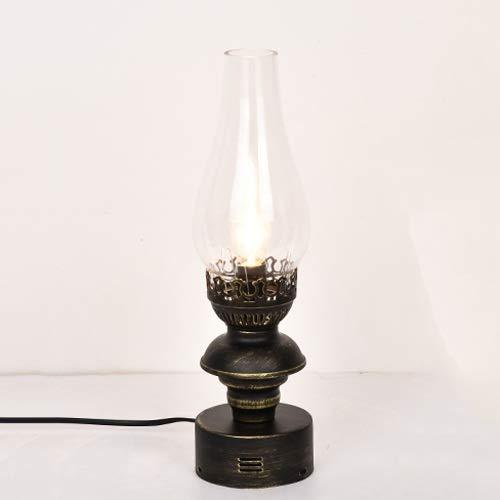Antieke Kerosene Lamp Tafellamp Nostalgische Klassieke Bronzen Metaal met Helder Glas Schaduw Desktop Licht voor Office Slaapzaal Studie Slaapkamer Nachtlampje